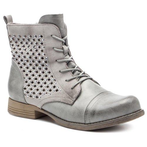 0ee0fdc6e861 vysoká šnurovacia topánka DeeZee WS998-01 šedá Dámske - Topánky ...